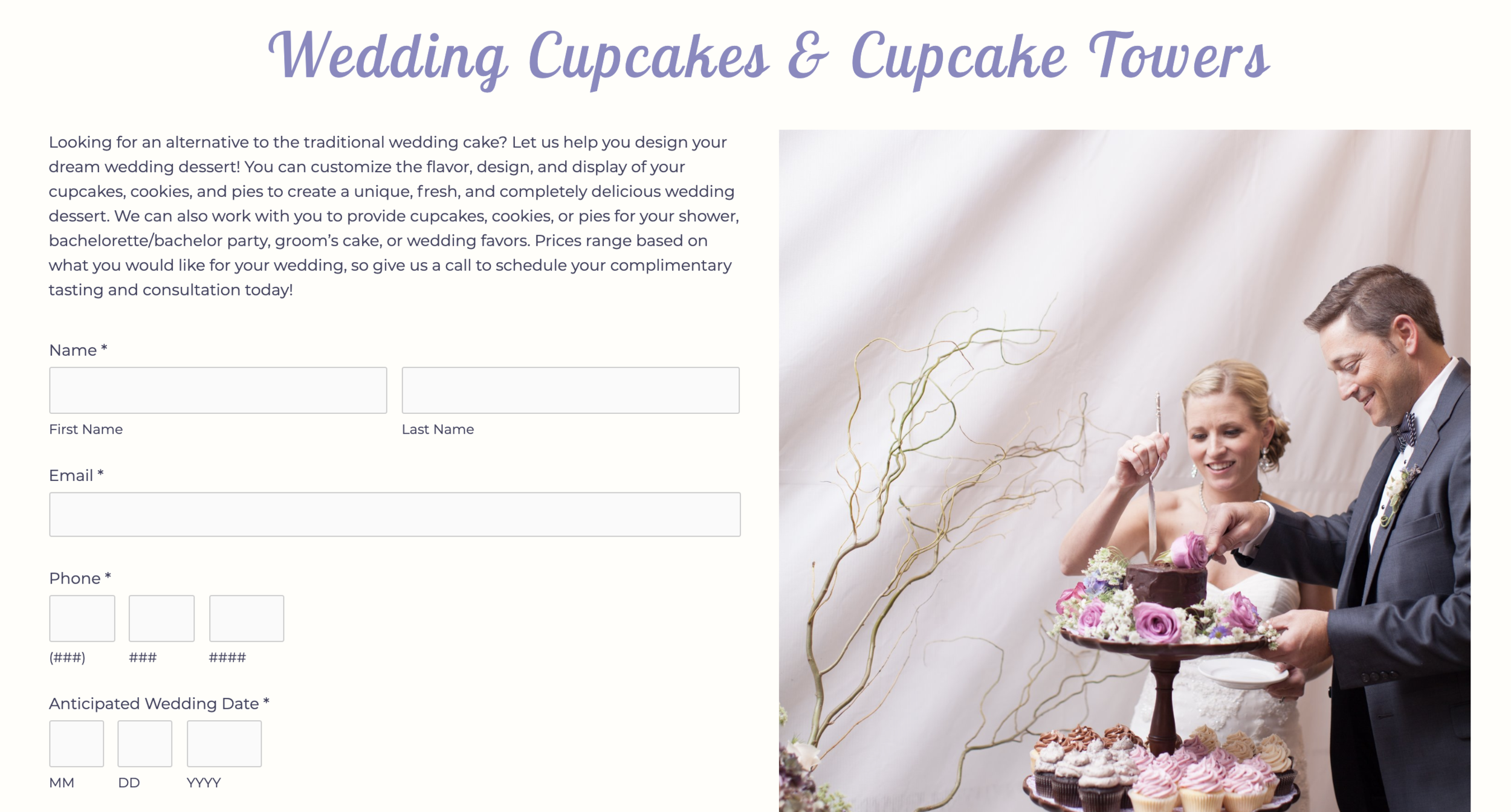 Ordering cupcakes for a wedding made easy on the website
