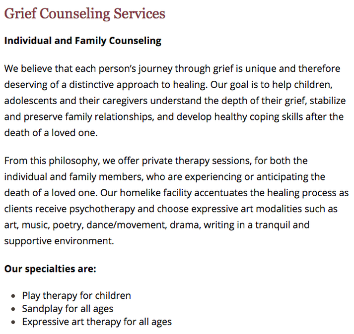 Children's Bereavement Center of South Texas - Counseling