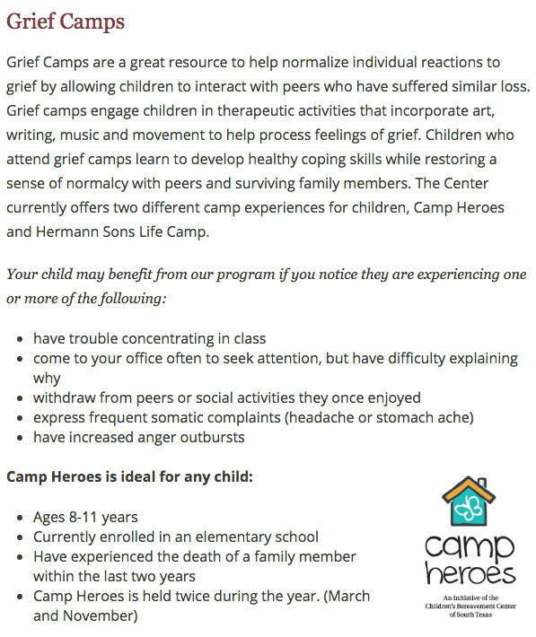 Children's Bereavement Center of South Texas - Camps