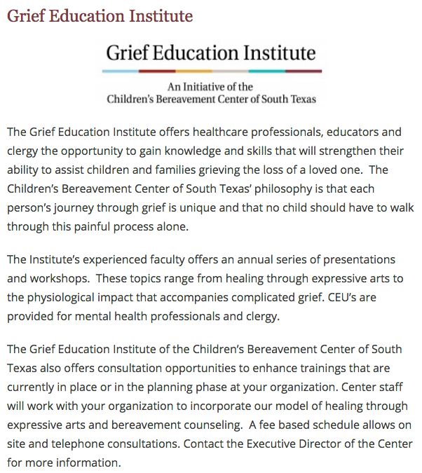 Children's Bereavement Center of South Texas - Education