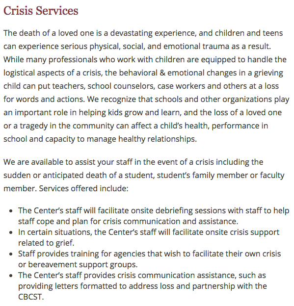 Children's Bereavement Center of South Texas - Crisis Services