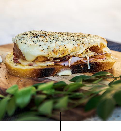 "Croque Monsieur   Grilled sandwich with ham, emmental cheese, béchamel sauce (milk, egg, flour, emmental cheese) and ""Truffle paste"" Dijon mustard"