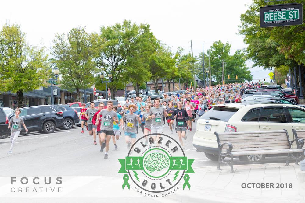 Blazer Bolt for Brain Cancer - 1 Mile Fun Run Start