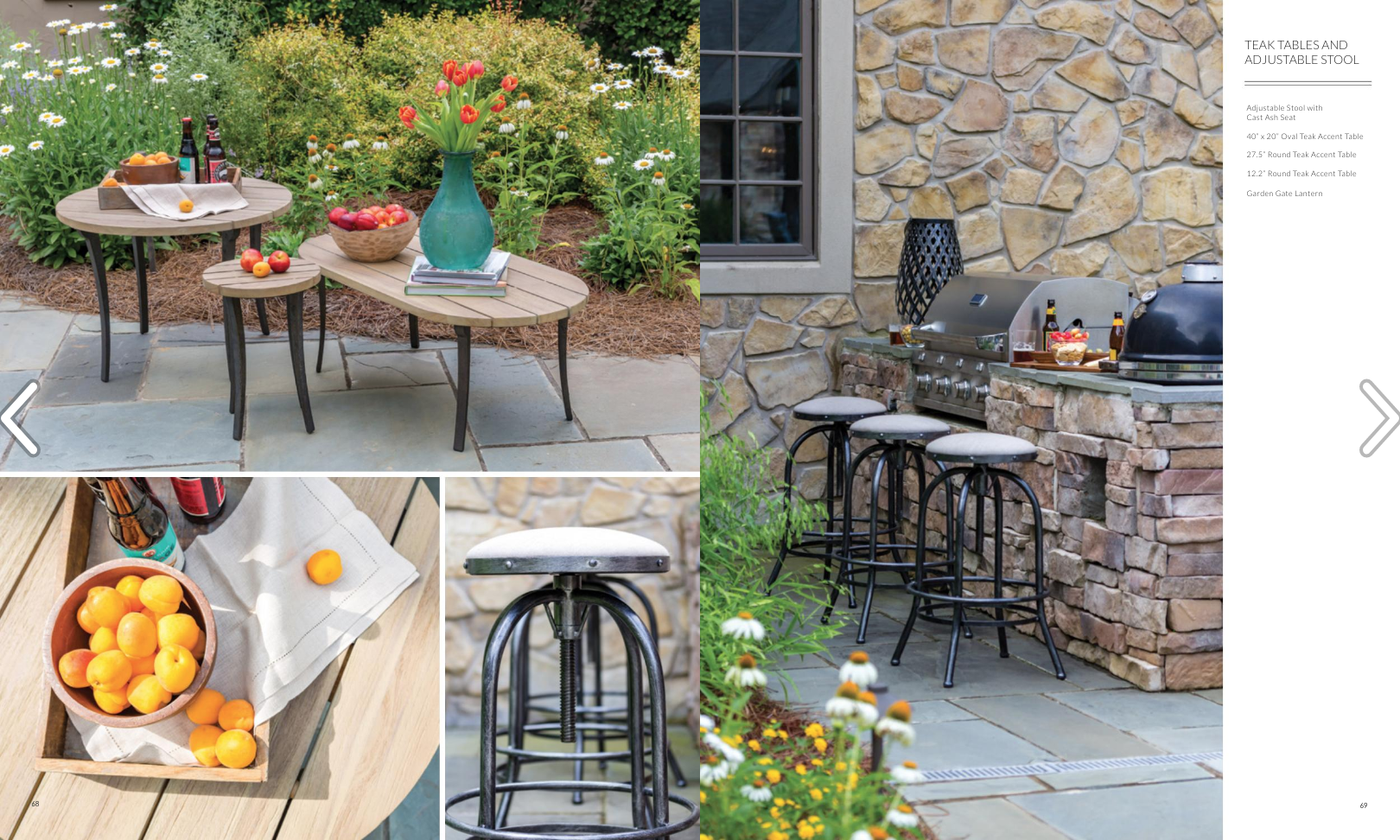 Catalog layout featuring their outdoor adjustable stools and teak tables