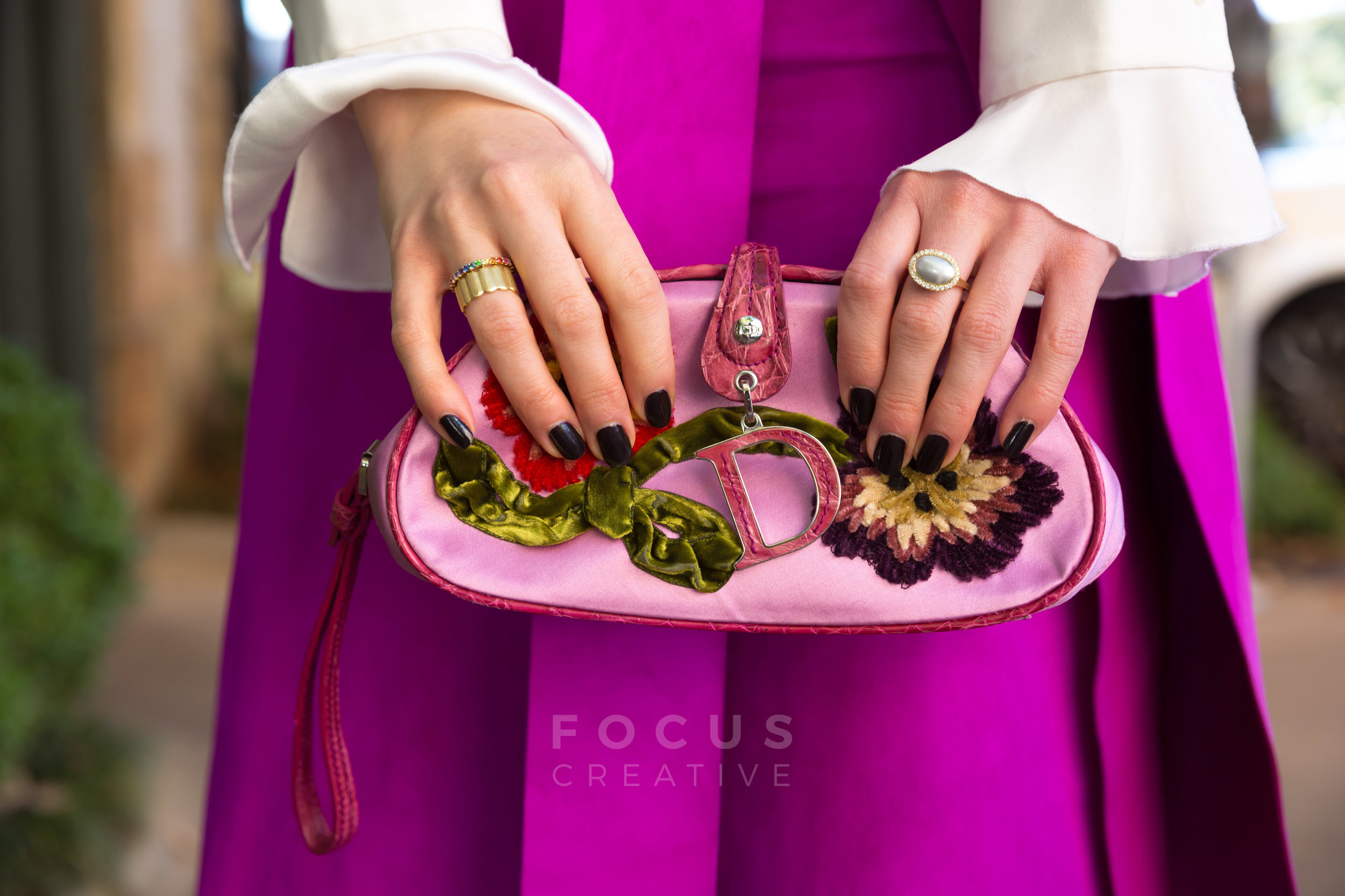 Delia Folk is featuring this Dior handbag and jewelry from Charlotte Allison Jewelry.