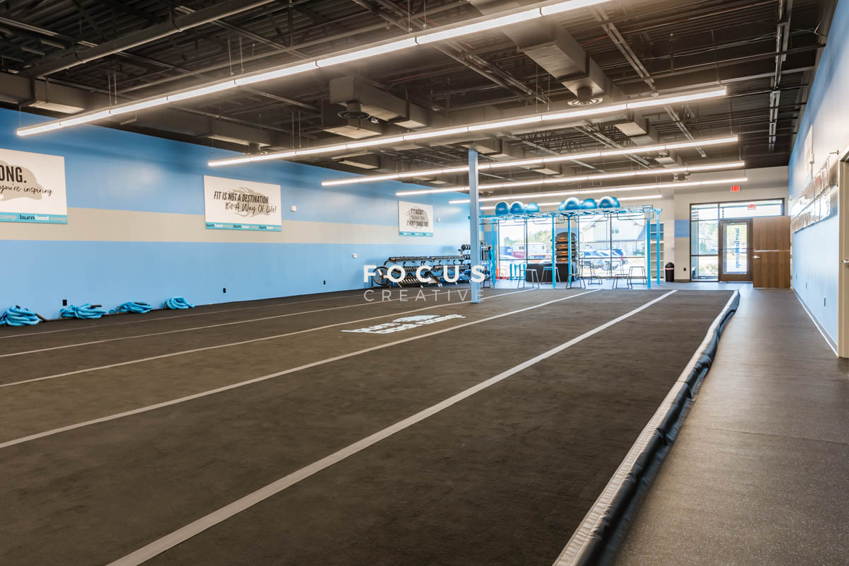 Prier Construction installed a spring floor at Burn Boot Camp.