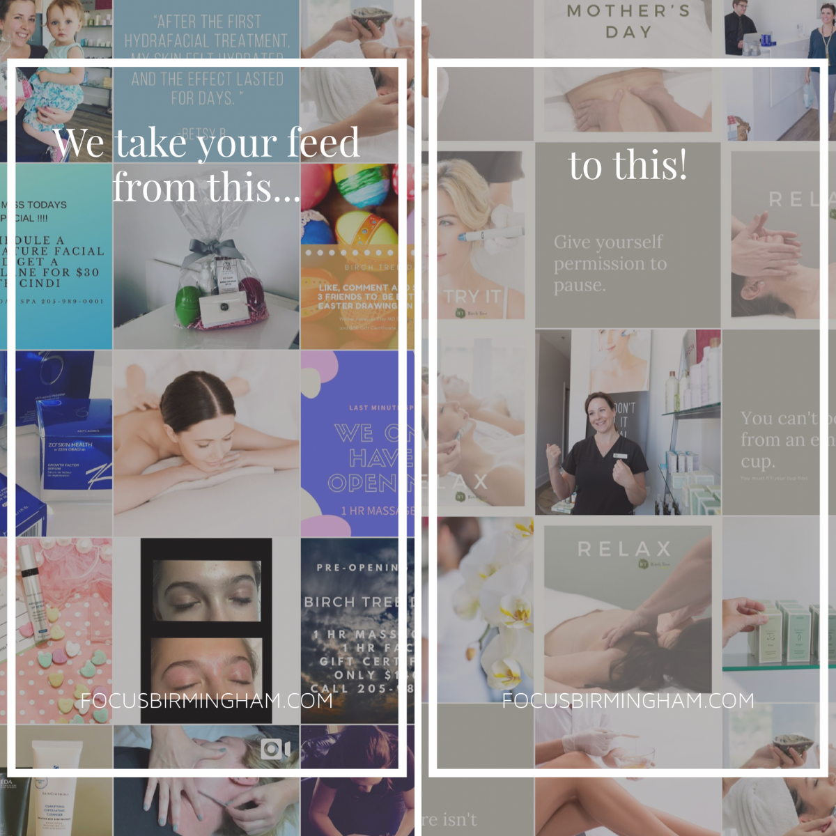 Example of Instagram grid design created by Focus Creative for Birch Tree Day Spa located in Hoover, Alabama