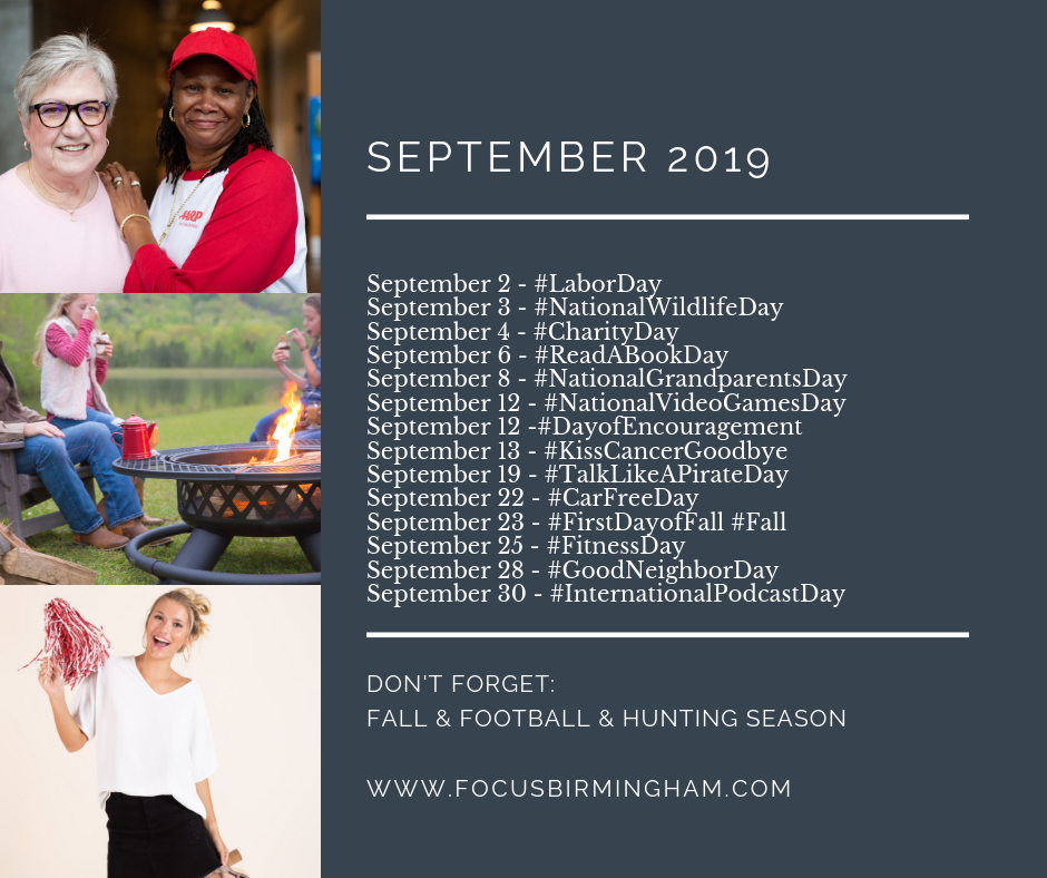 Download this September 2019 Social Media Calendar to help promote your business online.