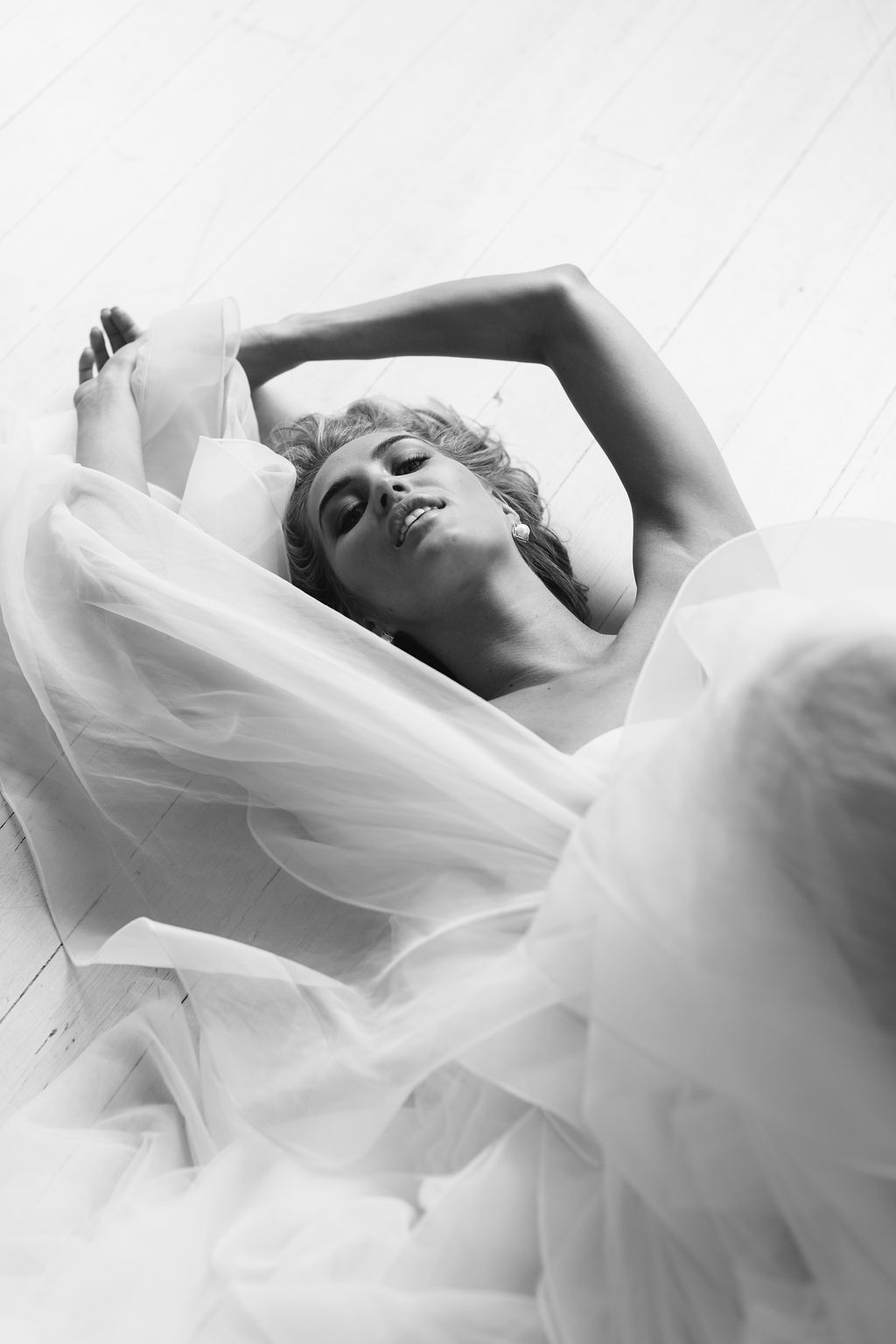 Black and white only fashion photography of bride for Amelie George Jewellery Campaign