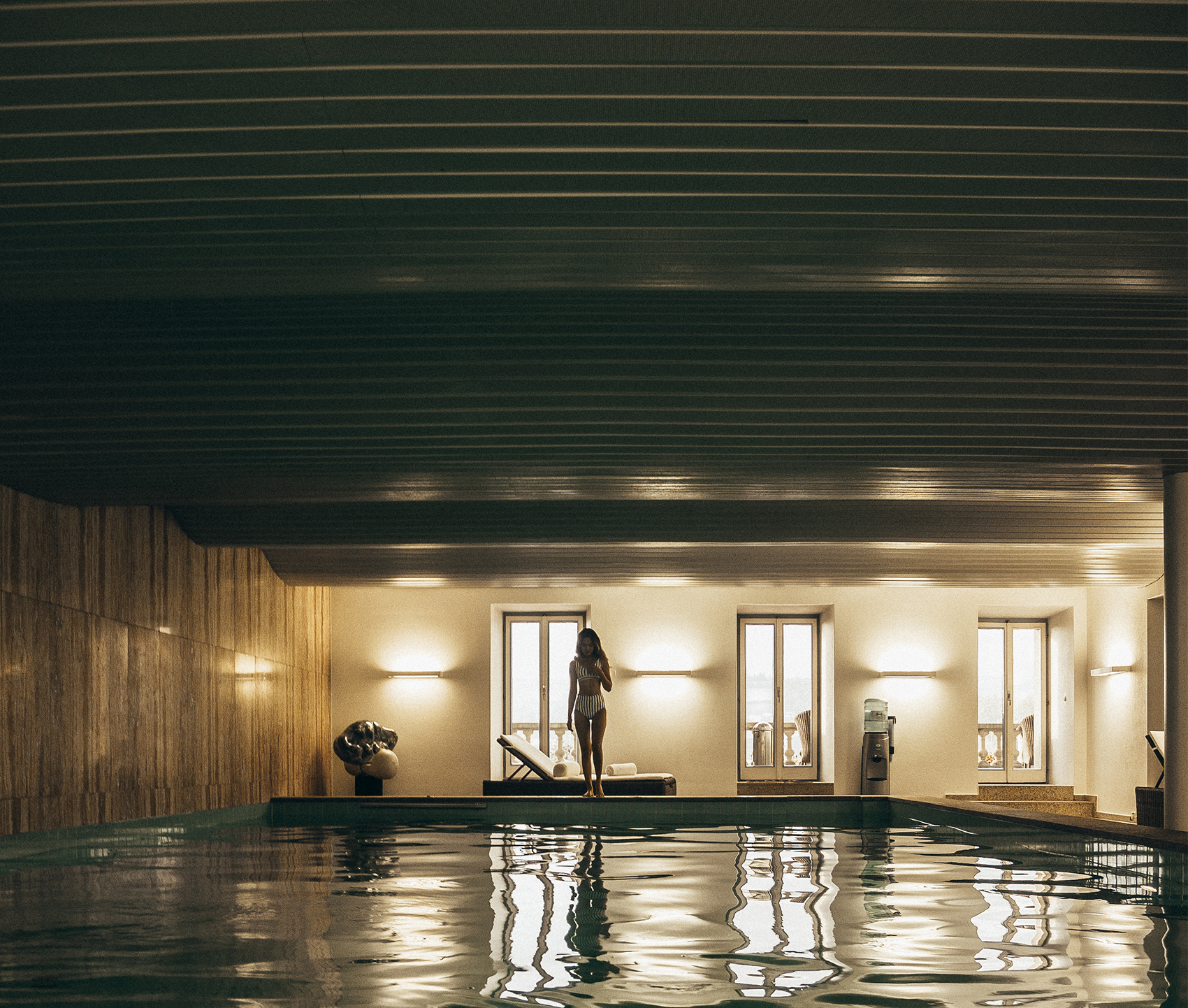 Showcasing the large swimming pool at Grand Hotel National Lucerne