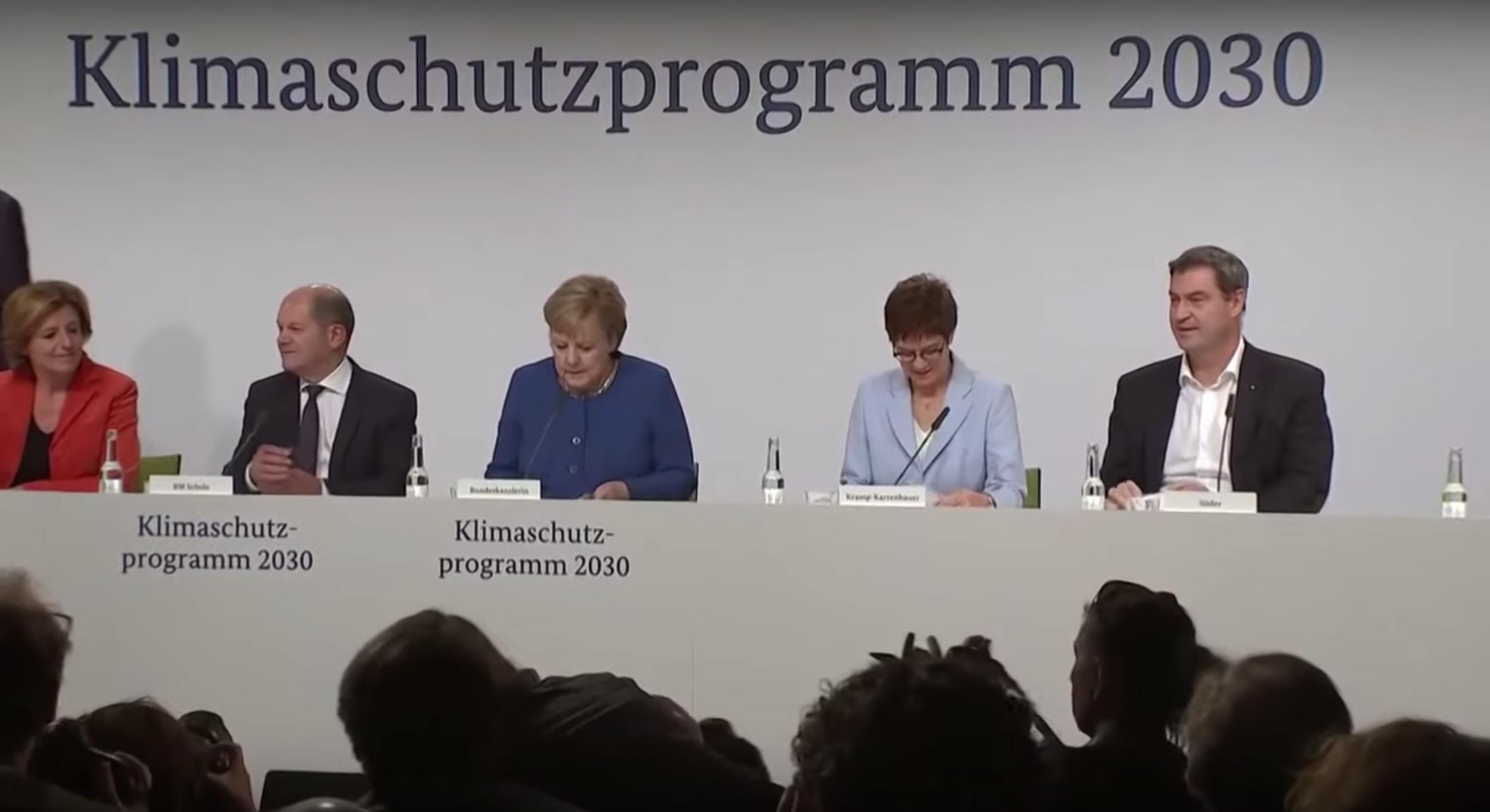 Die Spitzen von Union und SPD bei der Vorstellung des Klimapakets. [Foto: Screenshot Youtube]