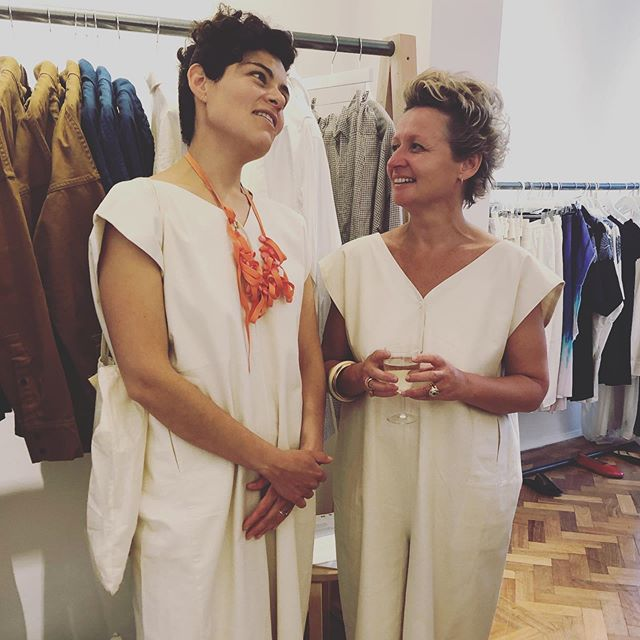 Great seeing so many beautiful women rocking our pieces in so many stylish, different yet personal and unique ways @claudia.urvois.interior.design @lotts_potts_uk both wearing our Dede jumpsuit, 100% unbleached raw silk hand made in Pakistan by our skilled craftsmen.  #brandwithastory #craft #artisans #consciousfashion #transparencyinfashion #indoi #indoicraft