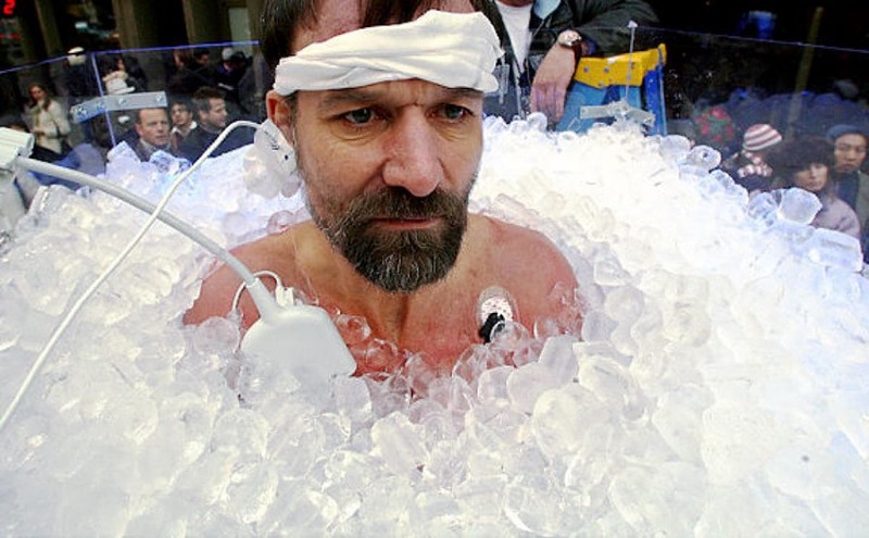 "Me: ""Hey Wim, what is a good morning routine?"" Wim Hof: ""An hour in an ice bath."""