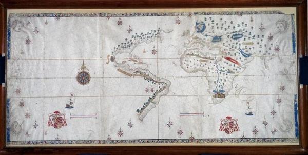 Le planisphère de Salviati est une carte du monde réalisée vers 1525 par Nuno Garcia de Toreno. Crédits : wikipédia