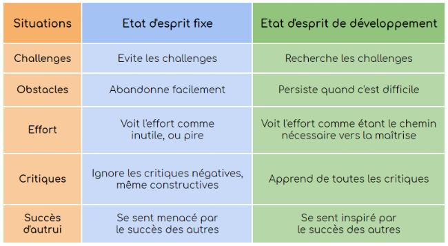 Différence entre état d'esprit fixe et état d'esprit de développement - Carole Dweck
