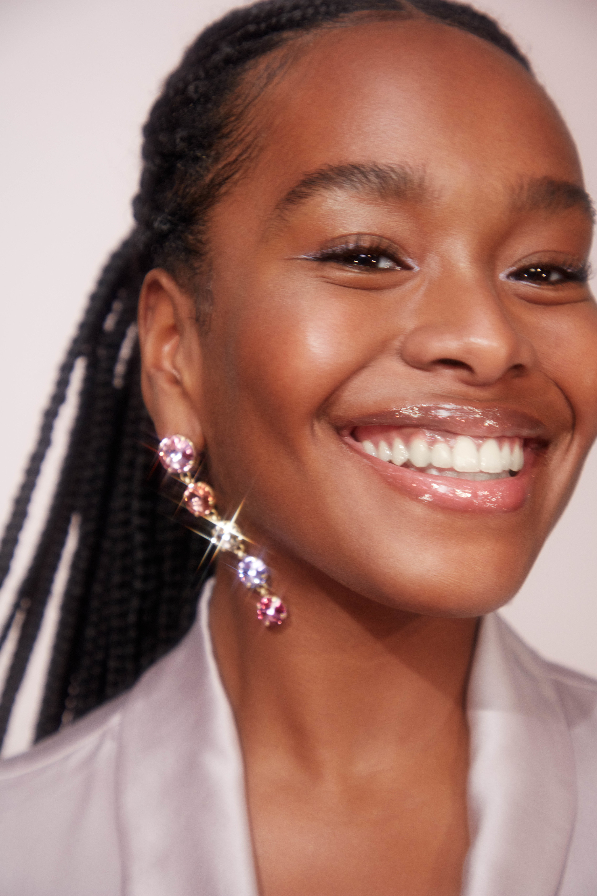 Model Enga ( @enga.d ) in a campaign for Glossier.