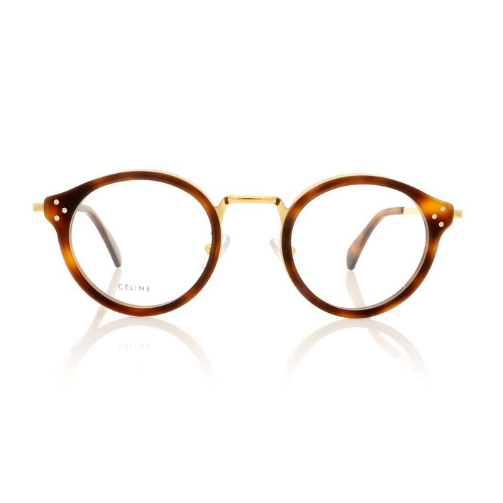 CELINE- CL50001U Optical  £360 (Sold out)  COLOUR Tortoise/Gold  CATEGORY Optical  MATERIAL Combination  SHAPE Round