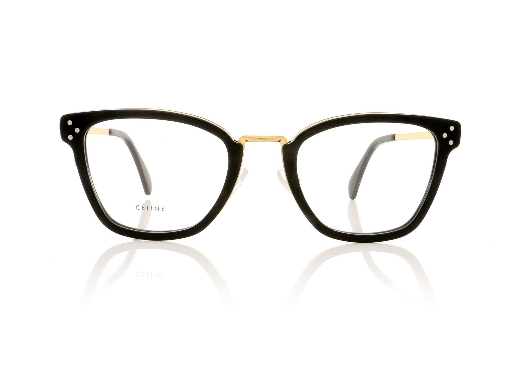 CELINE- CL50002U Opticals  £360 (Sold out)  COLOUR Black/Gold  CATEGORY Opticals  MATERIAL Metal  SHAPE Rectangular