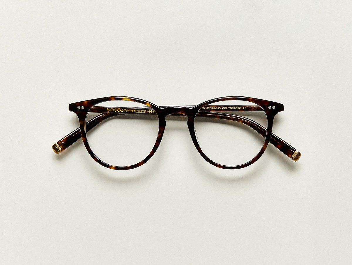 MOSCOT - Jared Opticals  £245  COLOUR Tortoise  SIZE 50  With familiar hints of The FRANKIE, The JARED is classic in its shape, but with added height and a bit more 'tude...but still really nice and polite, with a matching acetate clip to boot.  Handcrafted using Italian acetate  Features two dot rivets  Comfortable key hole nose bridge  Includes acetate nose pads  3-Barrel hinge  MOSCOT temple engravings  Signature brass temple tips for MOSCOT SPIRIT frames