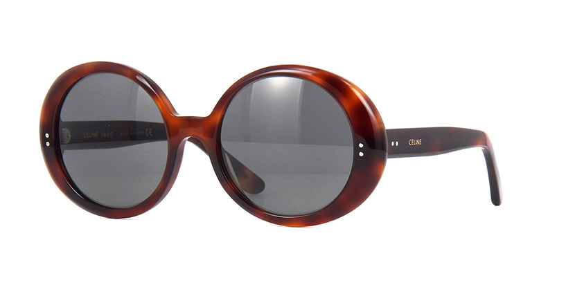 CELINE CL40065I 53A  £270  COLOUR Blonde Havana/Grey  CATEGORY Sunglasses  MATERIAL Acetate  SHAPE Round