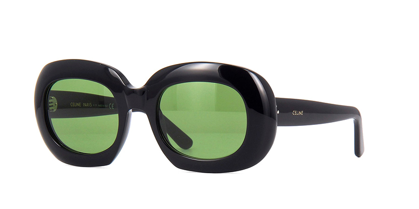 CELINE CL40070I 01N Sunglasses  £290  COLOUR Black/Green  CATEGORY Sunglasses  MATERIAL Acetate  SHAPE Round