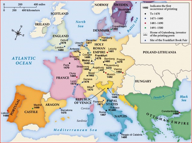 The printing press, much like the Lutheran Reformation, spread out from central Germany. Map courtesy of Susan M. Pojer  www.slidego.com/go/11690  Look also at  http://www.atlas.lib.uiowa.edu