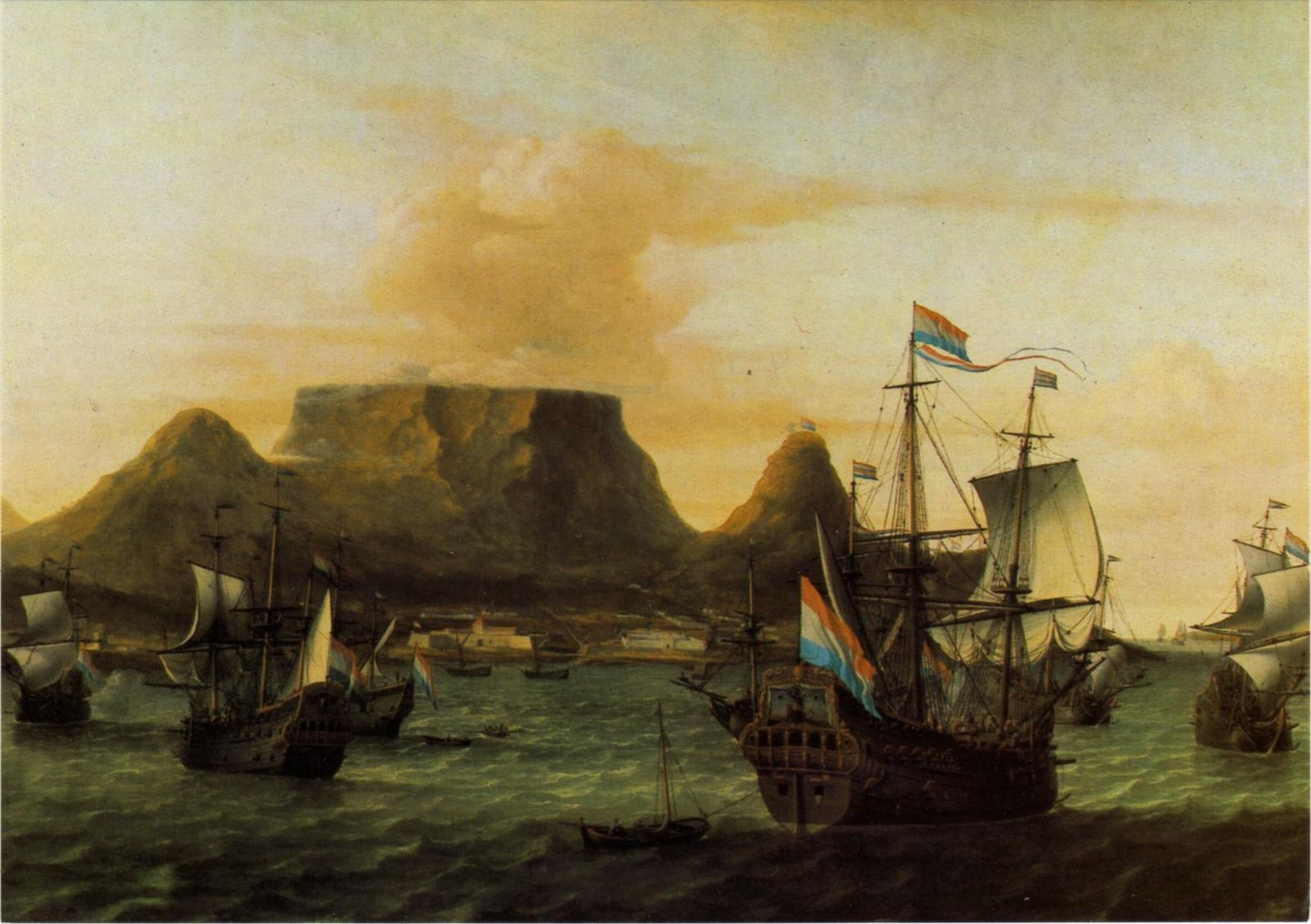 Dutch ships in Table Bay.  Tafelbaai      – Aernout Smith, 1683. Part of the  William Fehr Collection , Cape Town.