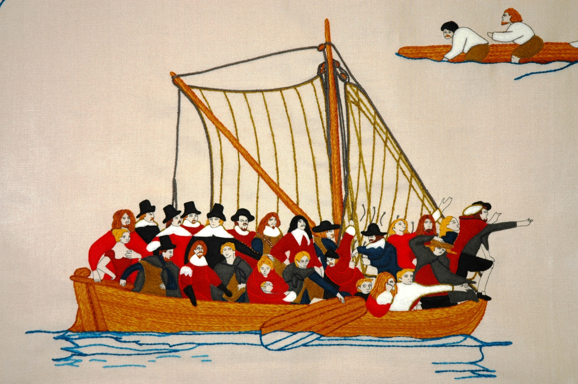 A sweet depiction of the long-boat mission to Batavia.   The Batavia Tapestry  by Melinda Piesse.