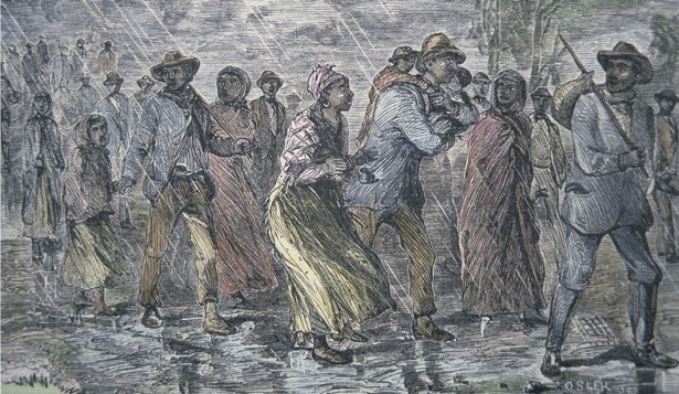 Fugitive slaves fleeing from the Maryland coast to an Underground Railroad depot in Delaware, 1850 (coloured engraving), American School, (19th century) / Private Collection / Peter Newark American Pictures / Bridgeman Images
