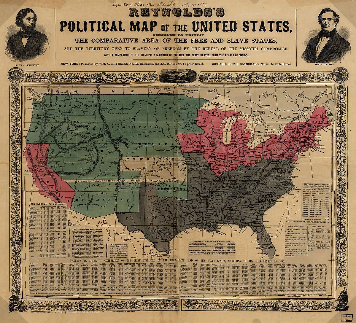 """""""Reynolds's Political Map of the United States"""" (1856)    from the Library of Congress Geography and Map Division"""