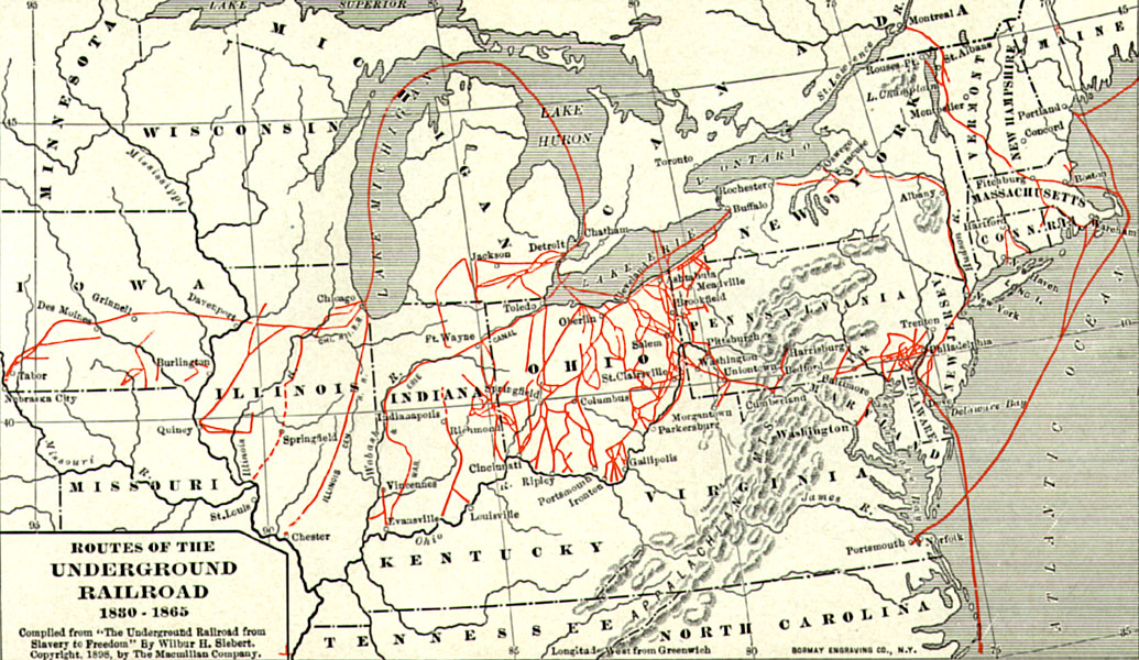 """Map from 1898 projecting believed Underground Railroad routes. Compiled from """"The Underground Railroad from Slavery to Freedom"""" by Willbur H. Siebert, The Macmillan Company, 1898   Source"""
