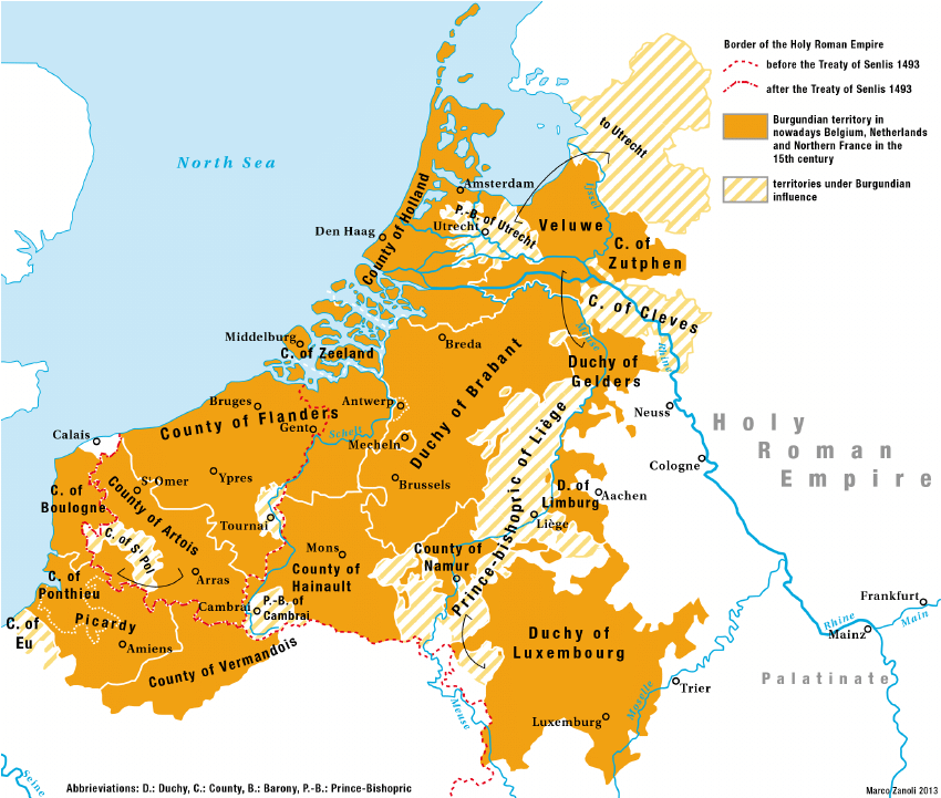 Map of the territories ruled by the Duchy of Burgundy c 1490s    by Marc Zanoli
