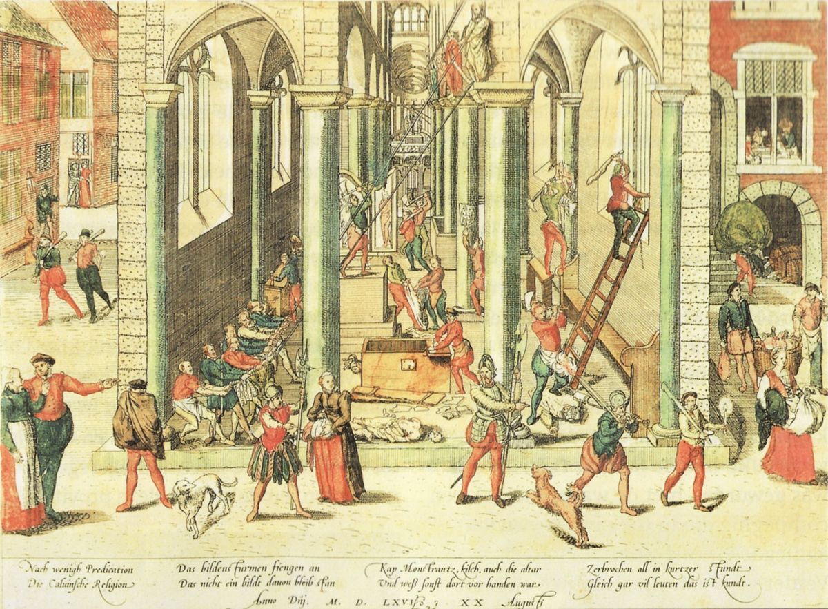 The Calvinist Iconoclastic Riot of August 20 , Frans Hogenberg, 1566 (etching based in Antwerp)