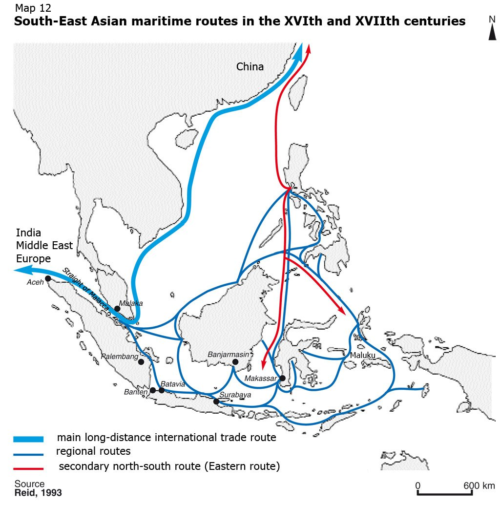 The East-Asian trade network. This had been long-established before the Portuguese, Dutch and other European merchants inserted themselves into it in the 16th and 17th centuries.  Source