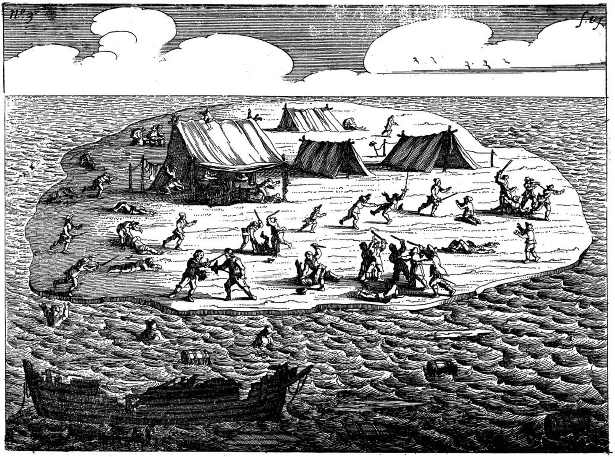The marooned people on Batavia's Graveyard play a game of hide and seek to pass the time – from the Jan Jansz 1647 edition of  Ongeluckige Voyagie .  Source .