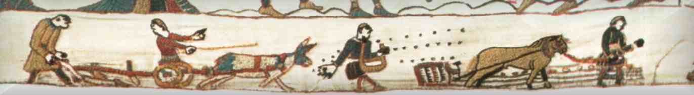 The peasant farmers and their beasts of burden scene from the Bayeux tapestry. Check out the full tapestry here:  http://www.precinemahistory.net/bayeux.htm