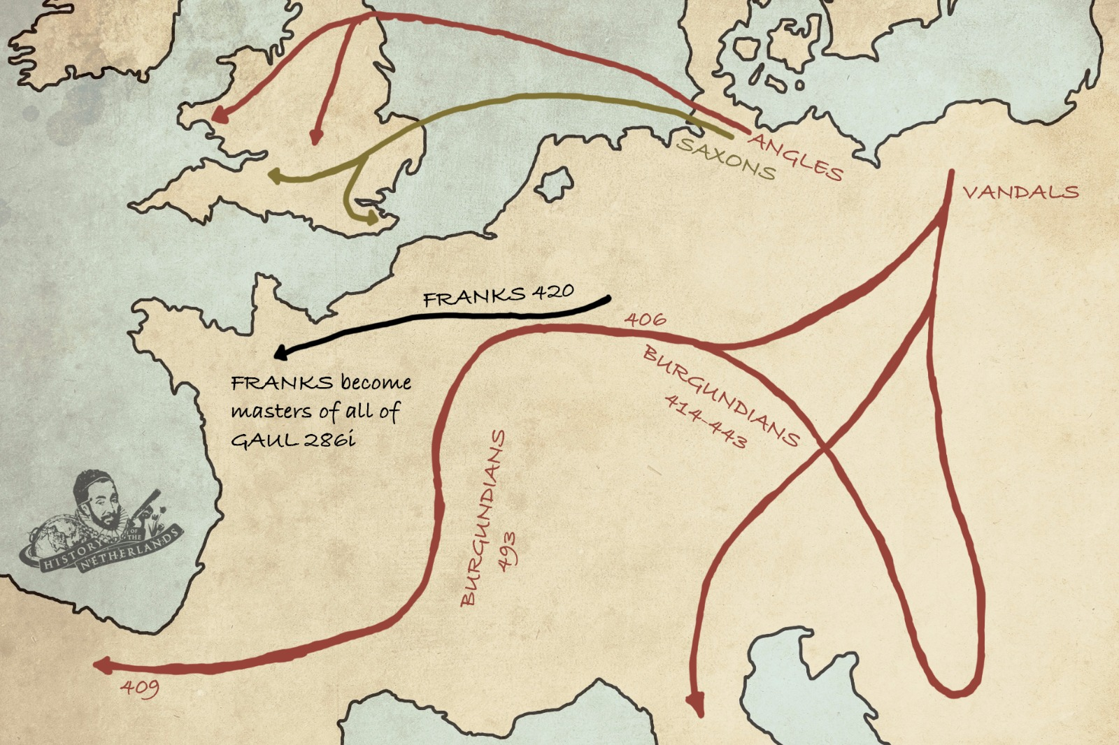 Germanic tribes spreading across Europe after Rome's collapse. Map by David Cenzer