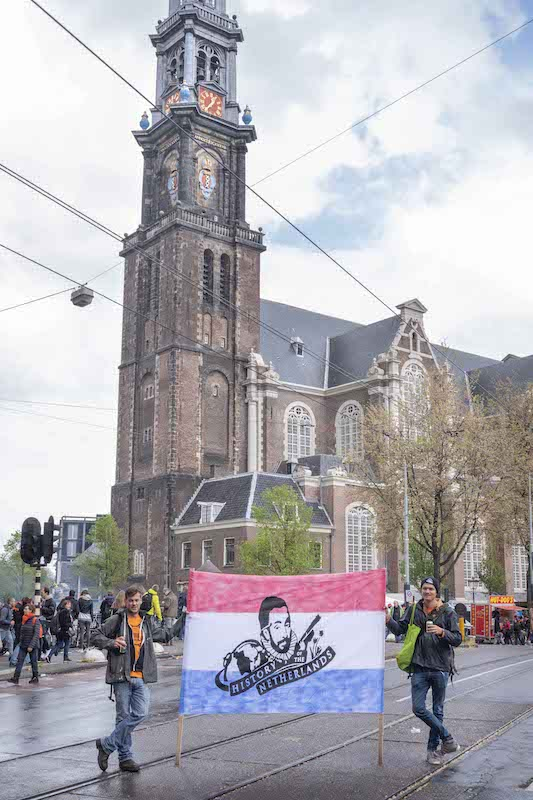 Joe and Julian bringing History of the Netherlands to the streets of Amsterdam, King's Day 2019. Photo by David Cenzer.