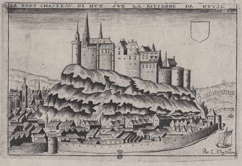 The town of Huy, as drawn c. 1600 by Claude Chastillon, bears the first record of city rights granted in the lowlands. This image provides a clear example of how these towns would develop. The castle, built originally in the 9th C, provides a focal point for commerce and authority, while the city walls provide protection, and help to establish a sense of independent identity.