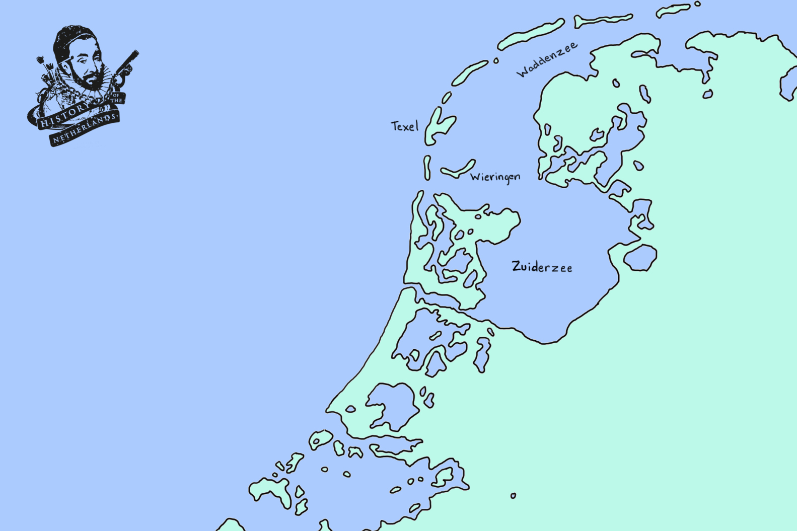 After the great inundations it would have looked something like this. The Almere has now become a branch of the North Sea. Map by David Cenzer