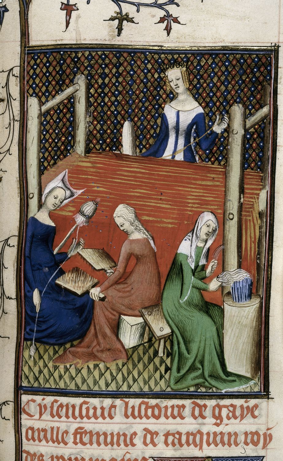 A medieval depiction of women spinning and carding wool, while Tanaquil operates her loom. Scenes such as this would have been common around Flanders at the time. Created by  Giovanni Boccaccio  (1313-06-16 — 1375-12-21).  Source .