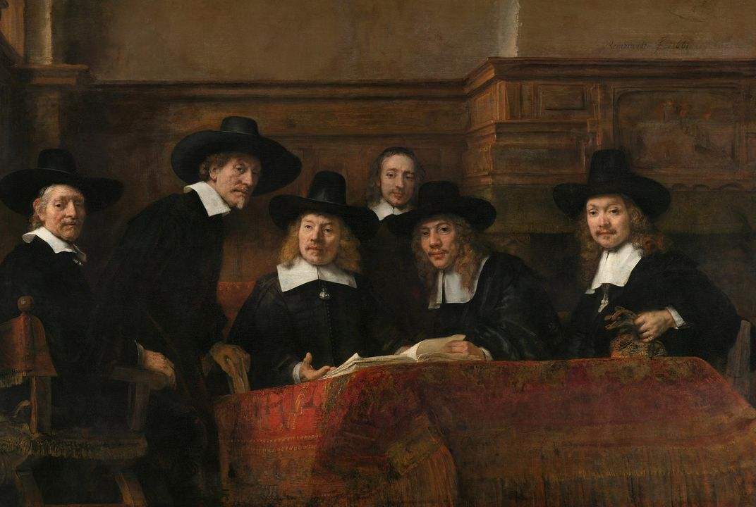 The  Syndics of the Draper's Guild  in Amsterdam inspect the quality of cloth. Painting by Rembrandt van Rijn, 1662.