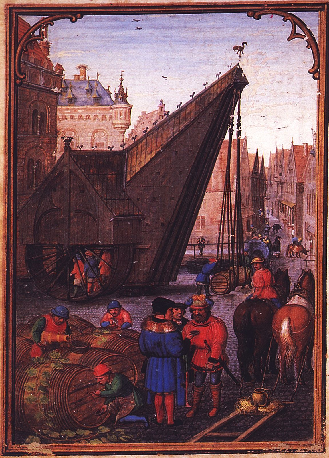 Labors of the Months: October, from a Flemish Book of Hours (Bruges) , by Simon Bening (c. 1483/4-1561). Note the people walking in the treadwheel crane.  Source .