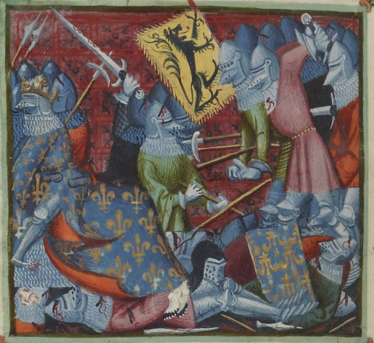 The Battle of the Golden Spurs, depicted in a miniature from the  Grandes Chroniques de France   source . Notice the lilies on the French shields and armour, from which the French supporters in Flanders, known as Lelieaarts, got their name..