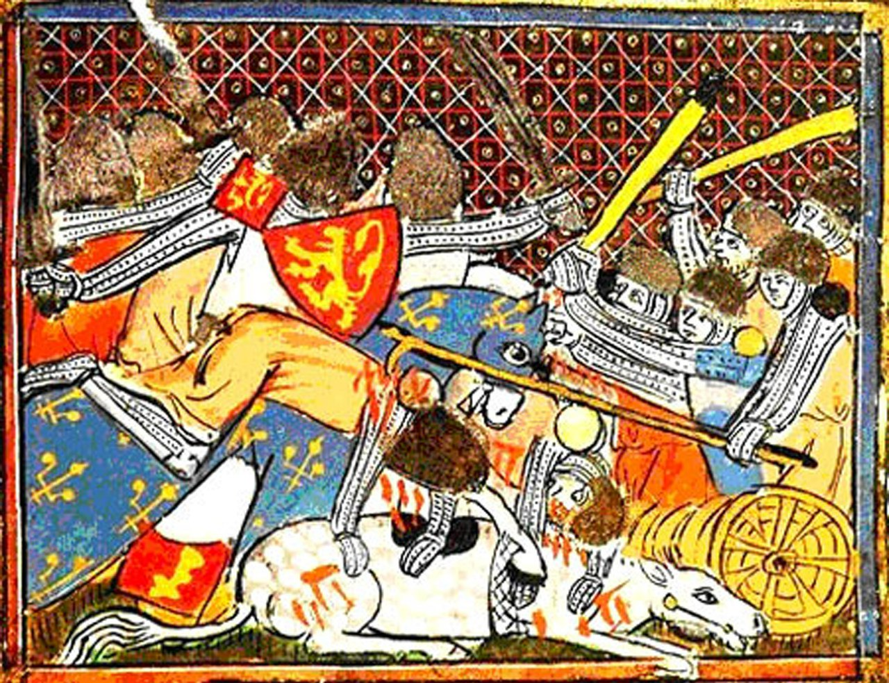 The Flemish and the French rationally discussing their differences at the Battle of the Golden Spurs. Miniature from the  Grandes Chroniques de France   source
