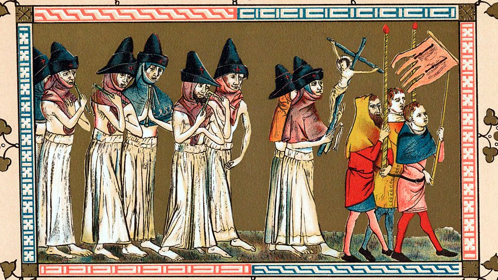 Flagellants in the town of Tournai attempt to stop the plague by whipping themselves.