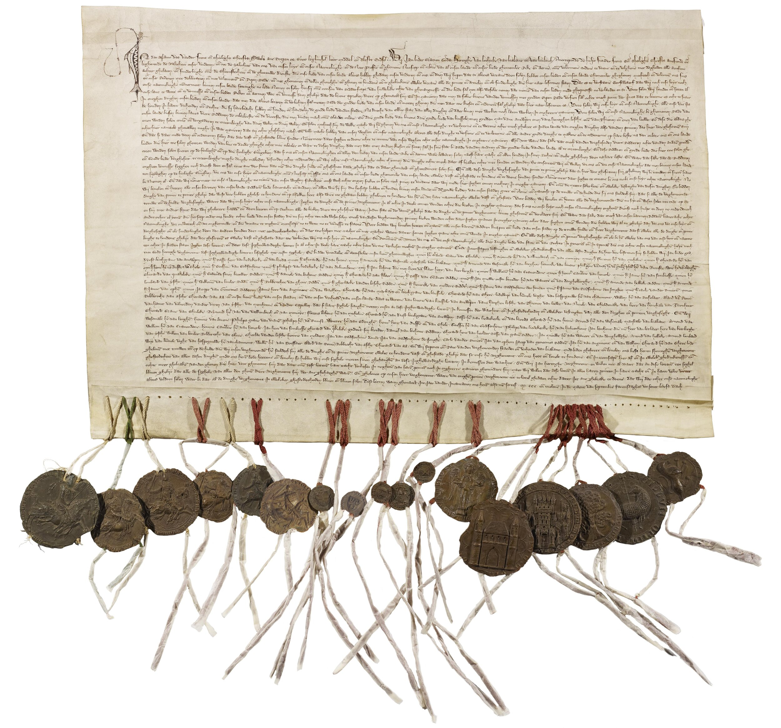 The Charter of Kortenberg, with all the bells and whistles attached.  Christiaan Janssens [CC BY-SA 4.0 (https://creativecommons.org/licenses/by-sa/4.0)]