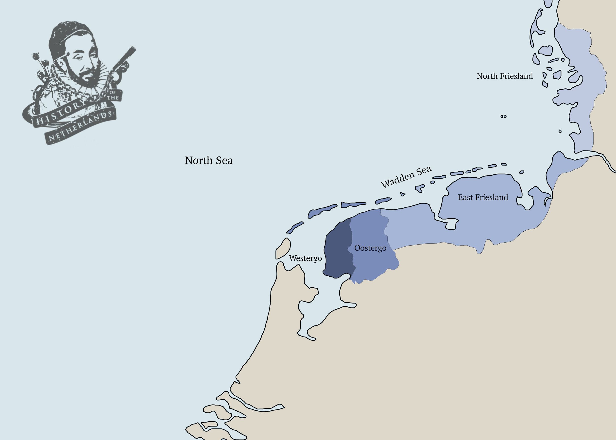 The Frisian states in the 1300s extended across parts of today's Netherlands, Germany and Denmark. Map by David Cenzer.