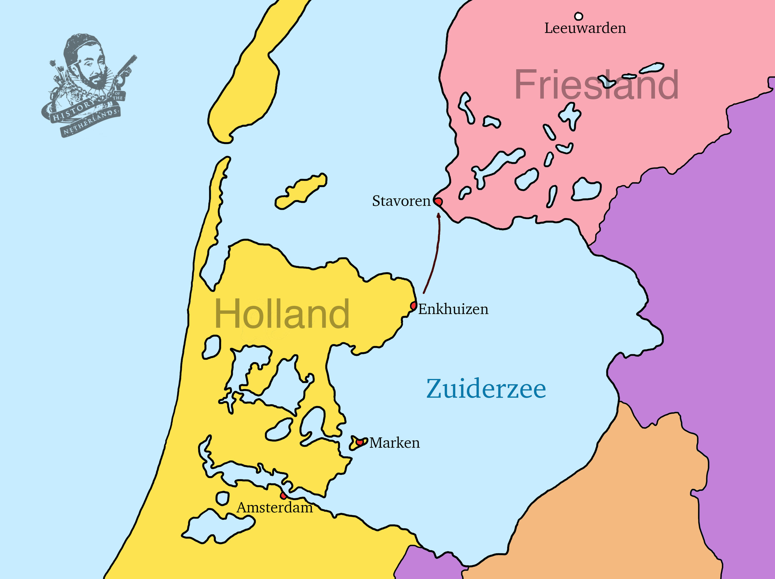 The invasion force sailed from Enkhuizen to Stavoren on 26 September, 1345, and limped back to Amsterdam a few days later, heavily defeated. Map by David Cenzer.