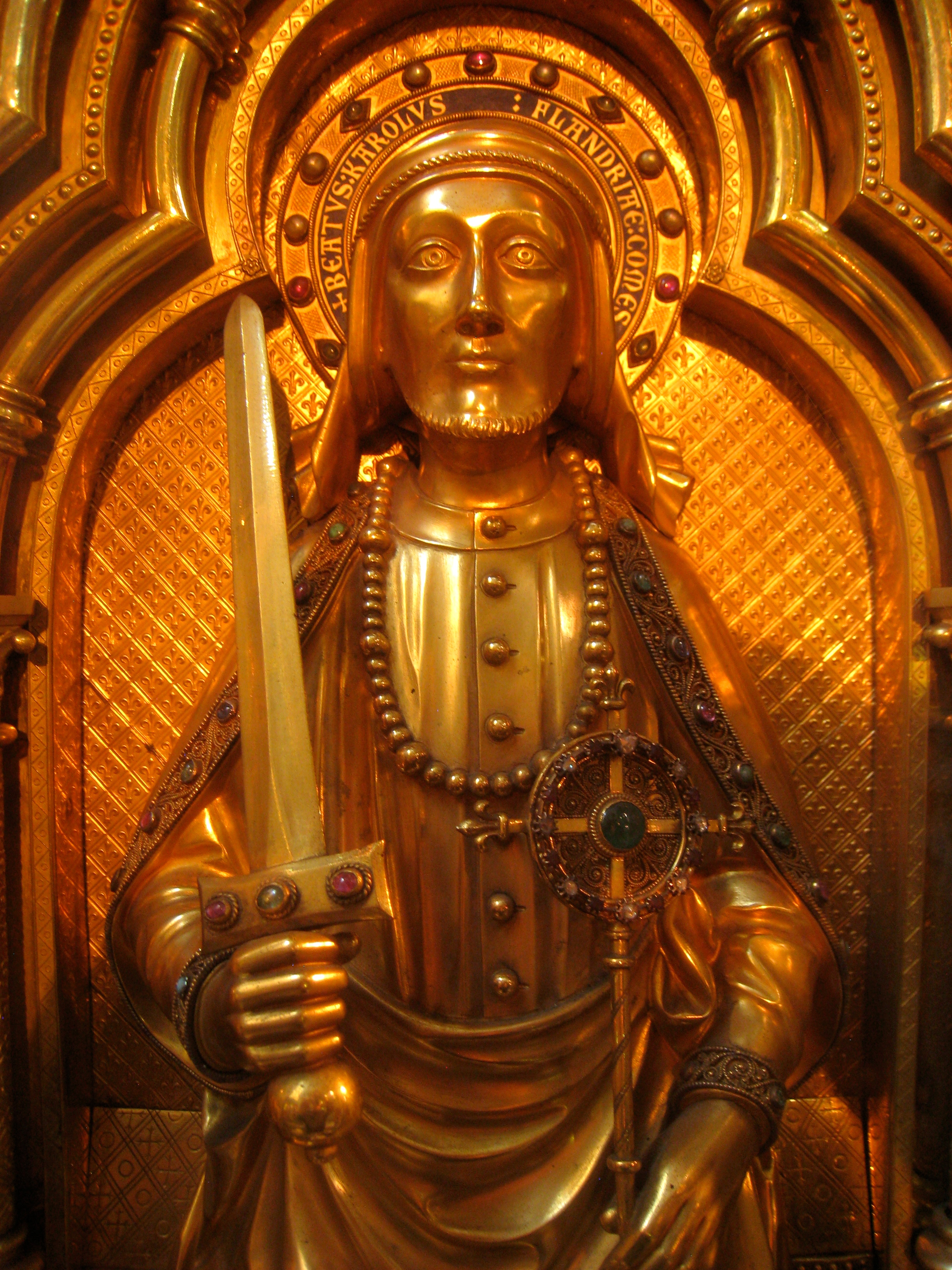 Charles I on his reliquary in the Sint-Salvatorskathedraal, Bruges, Belgium. By Daderot, Public Domain,  https://commons.wikimedia.org/w/index.php?curid=11991731